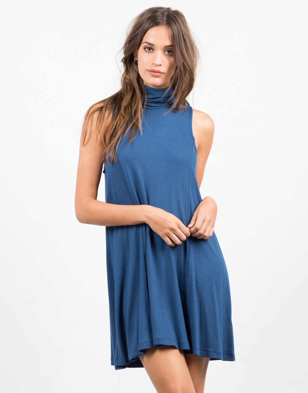 Front View of Crepe Turtleneck Dress