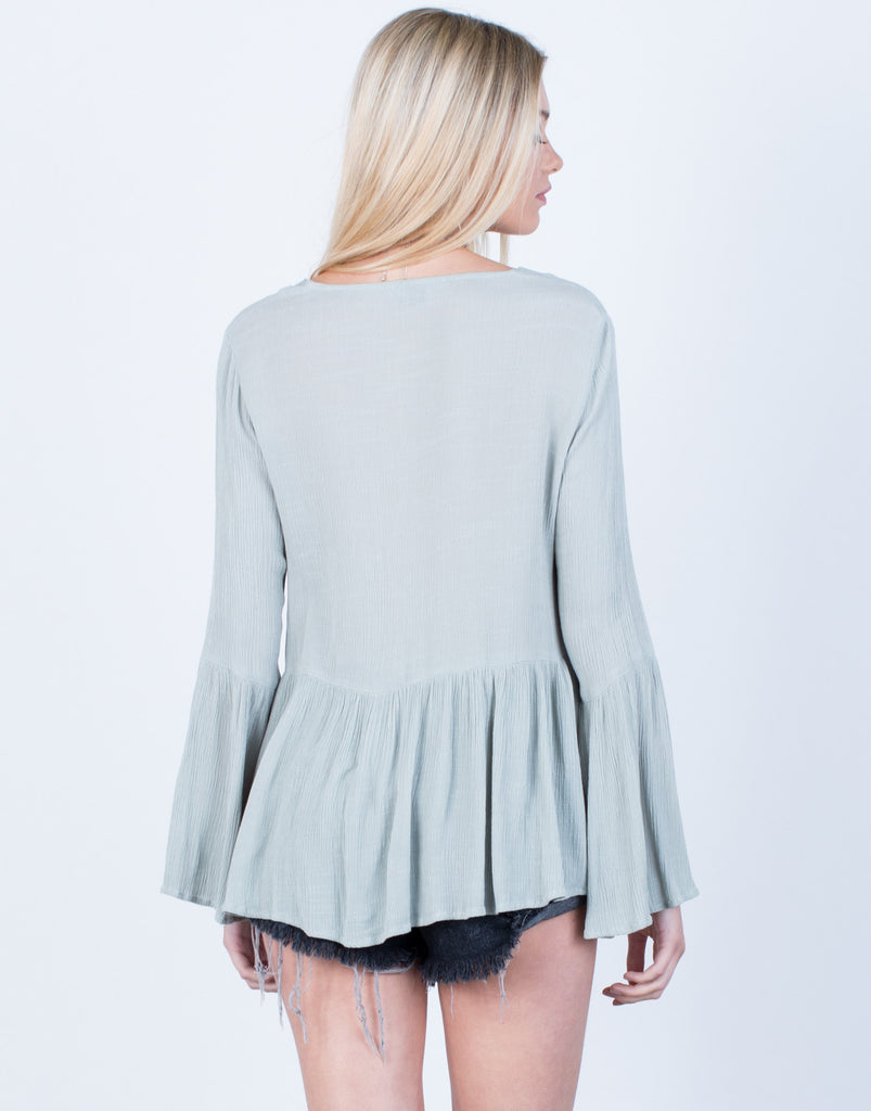 Back View of Crinkly Bell Sleeve Top