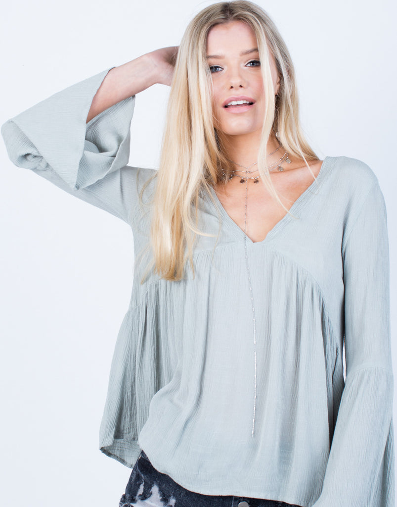 Detail of Crinkly Bell Sleeve Top