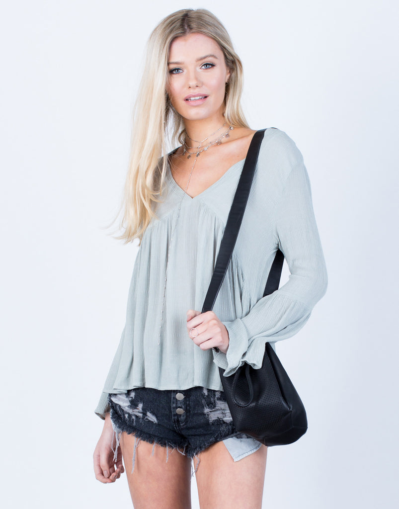 Front View of Crinkly Bell Sleeve Top
