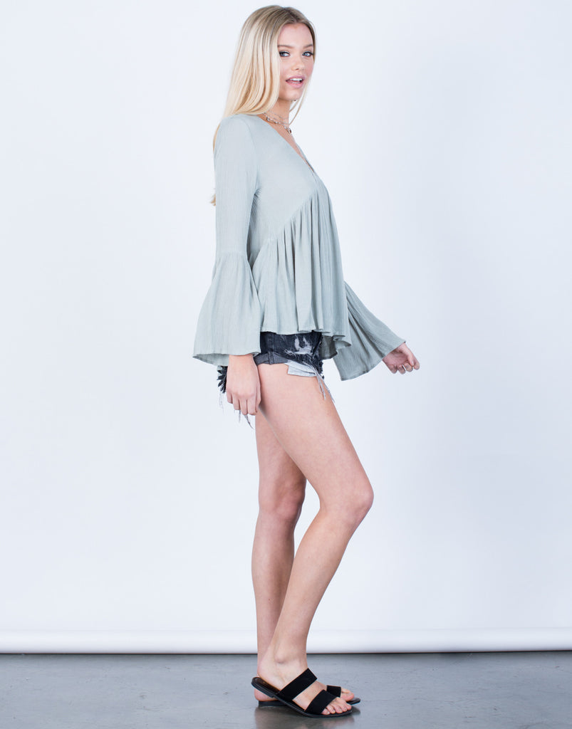 Side View of Crinkly Bell Sleeve Top