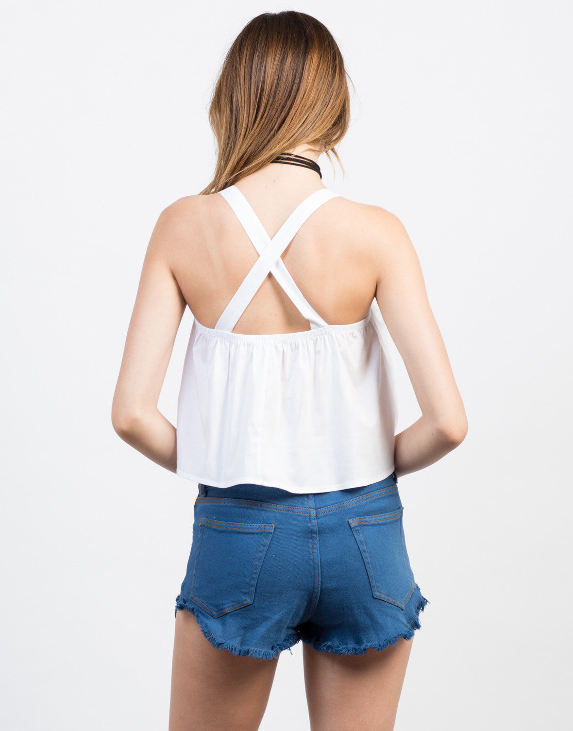 Back View of Criss Cross Babydoll Top