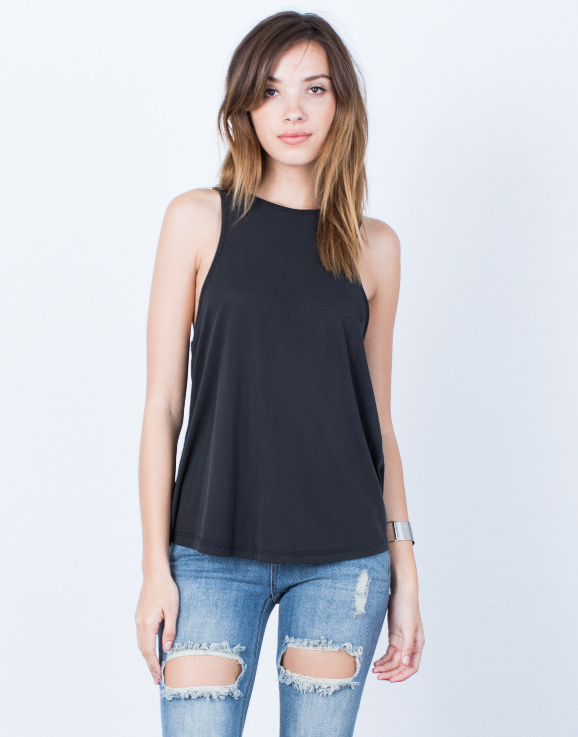 Front View of Criss Cross Back Tank Top
