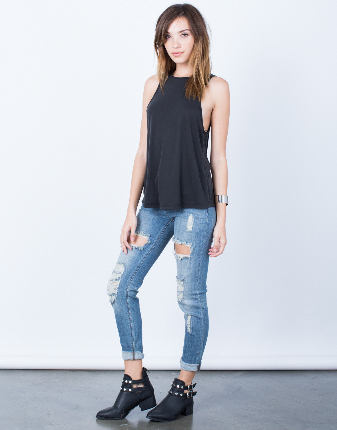 Side View of Criss Cross Back Tank Top