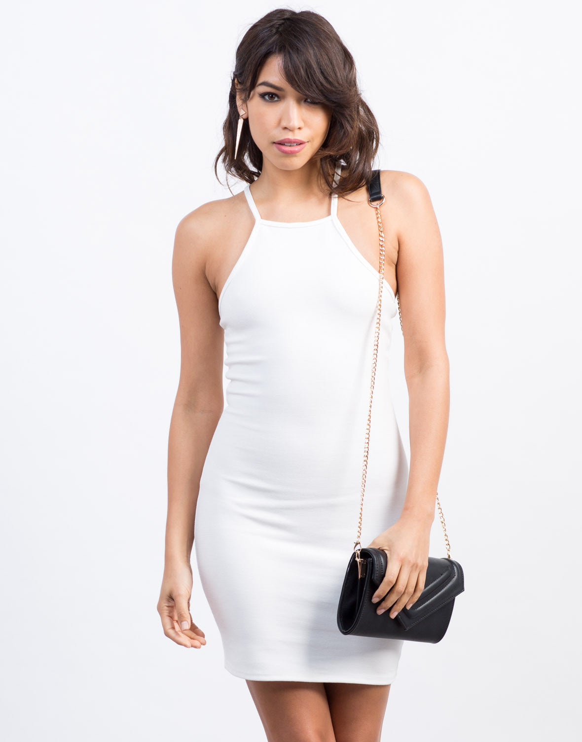 Front View of Criss Cross Bodycon Dress
