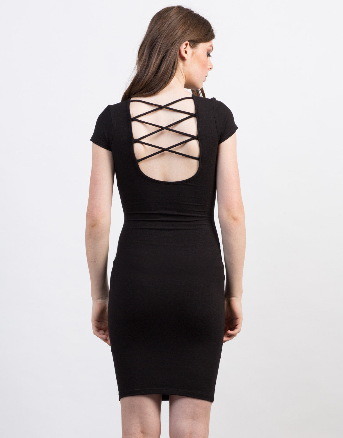 Back View of Criss Cross Bodycon Tee Dress