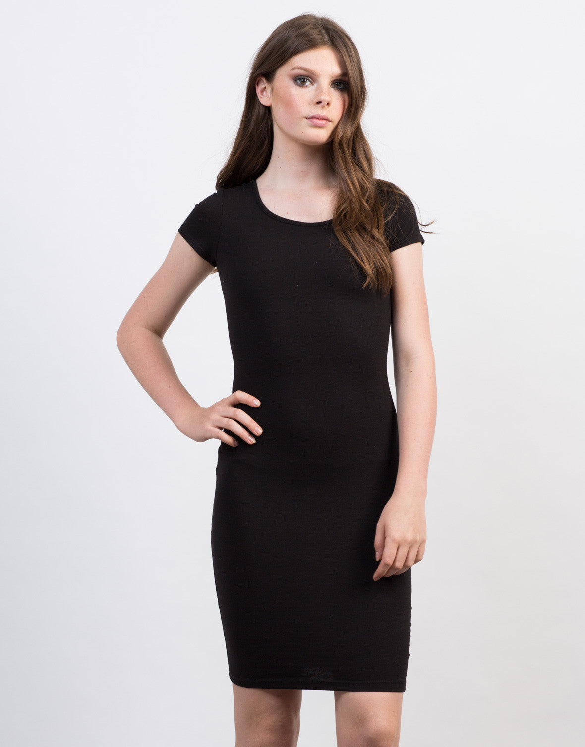 Front View of Criss Cross Bodycon Tee Dress