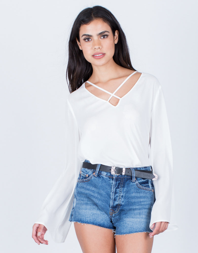 Front View of Criss Cross Chiffon Blouse