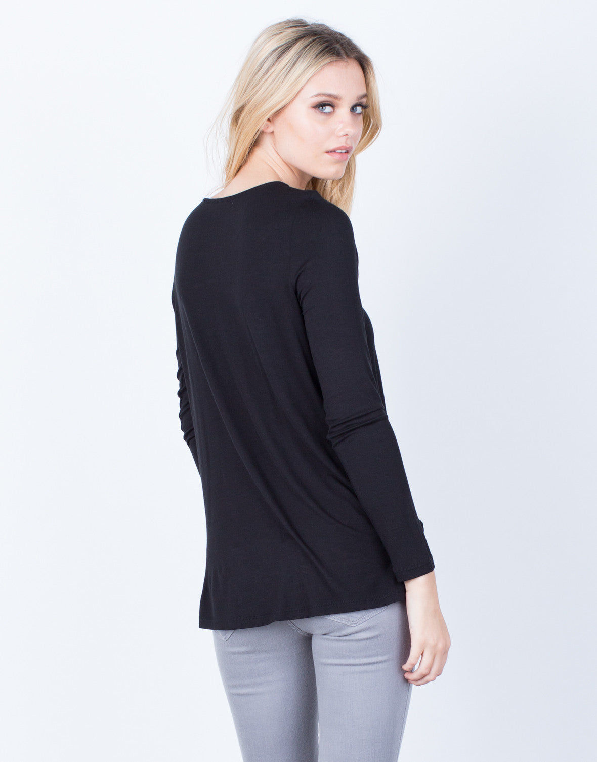 Back View of Criss Cross Knit Blouse