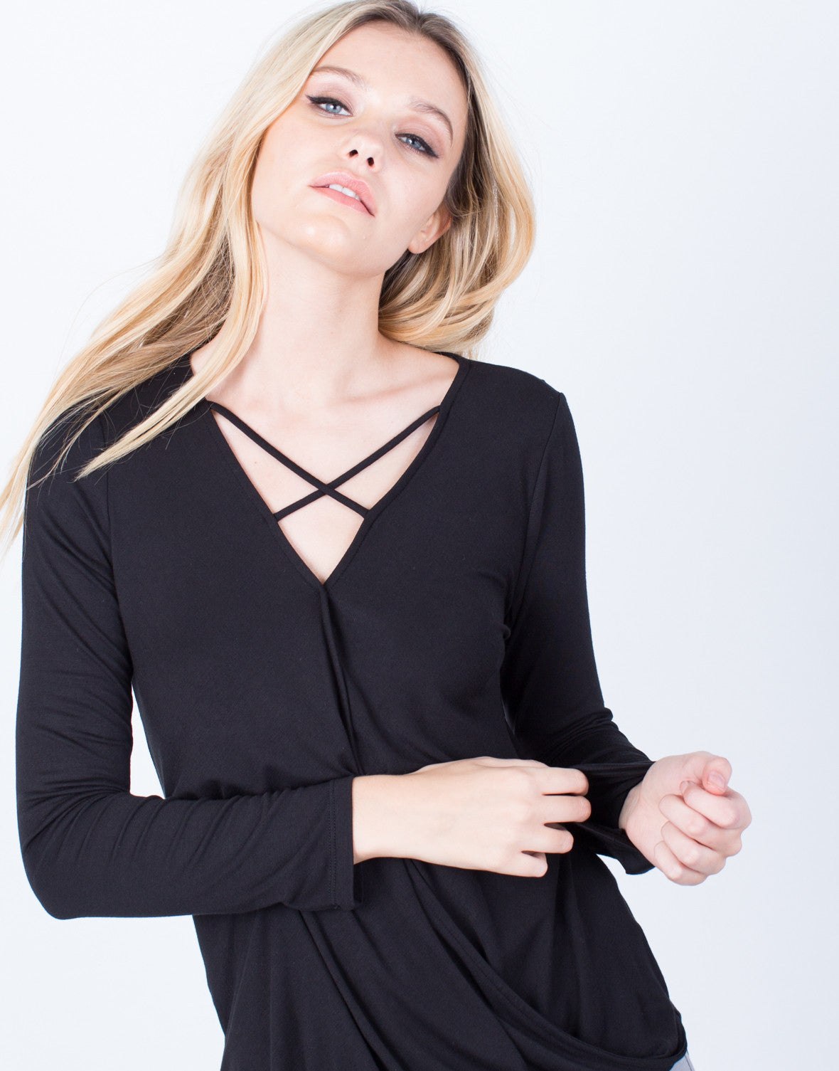Detail of Criss Cross Knit Blouse