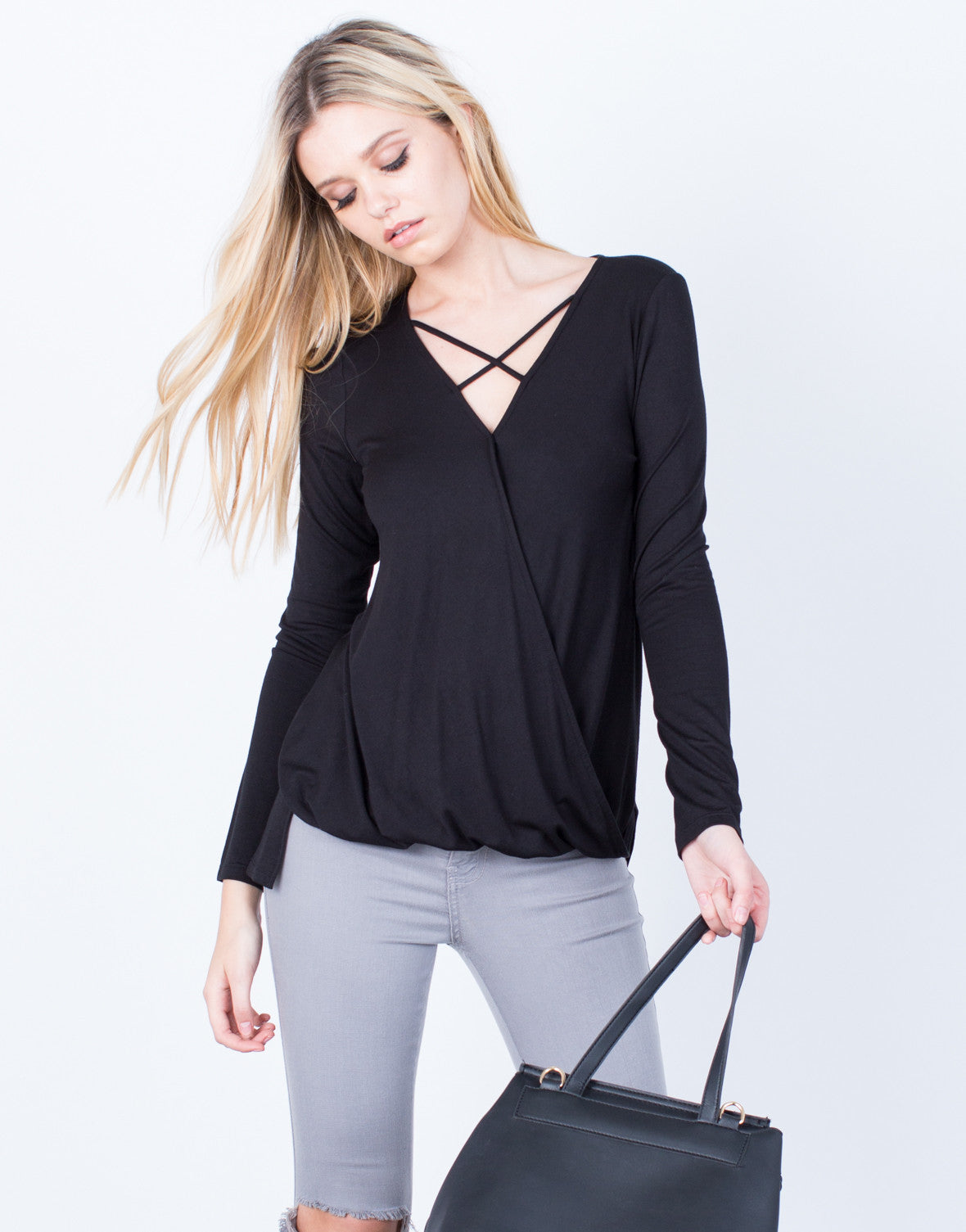Front View of Criss Cross Knit Blouse