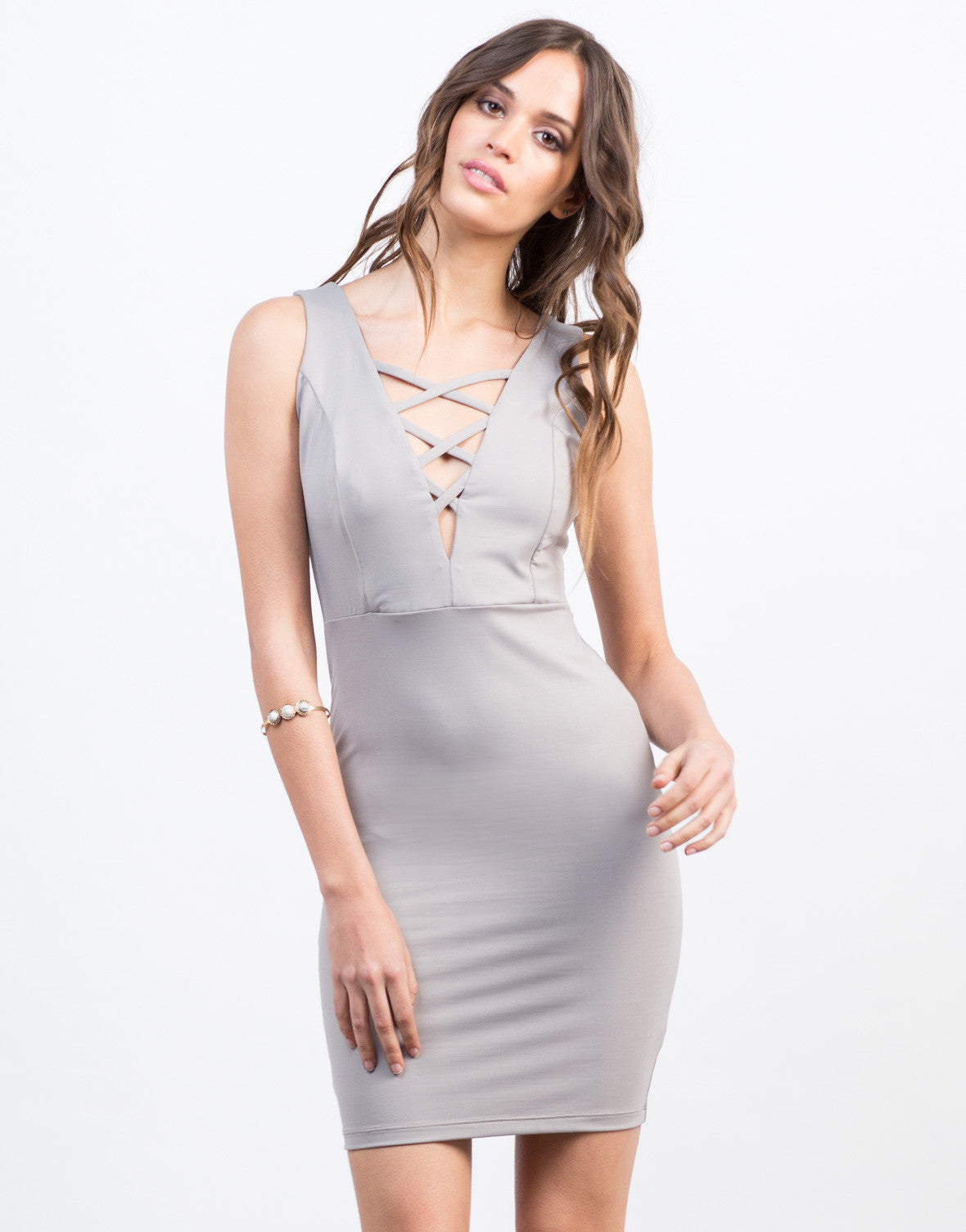 Front View of Criss Cross Party Dress