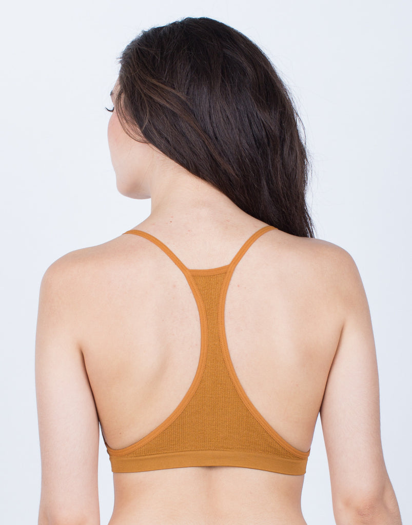 Back View of Criss Cross Ribbed Bralette