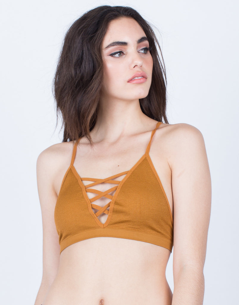 Front View of Criss Cross Ribbed Bralette