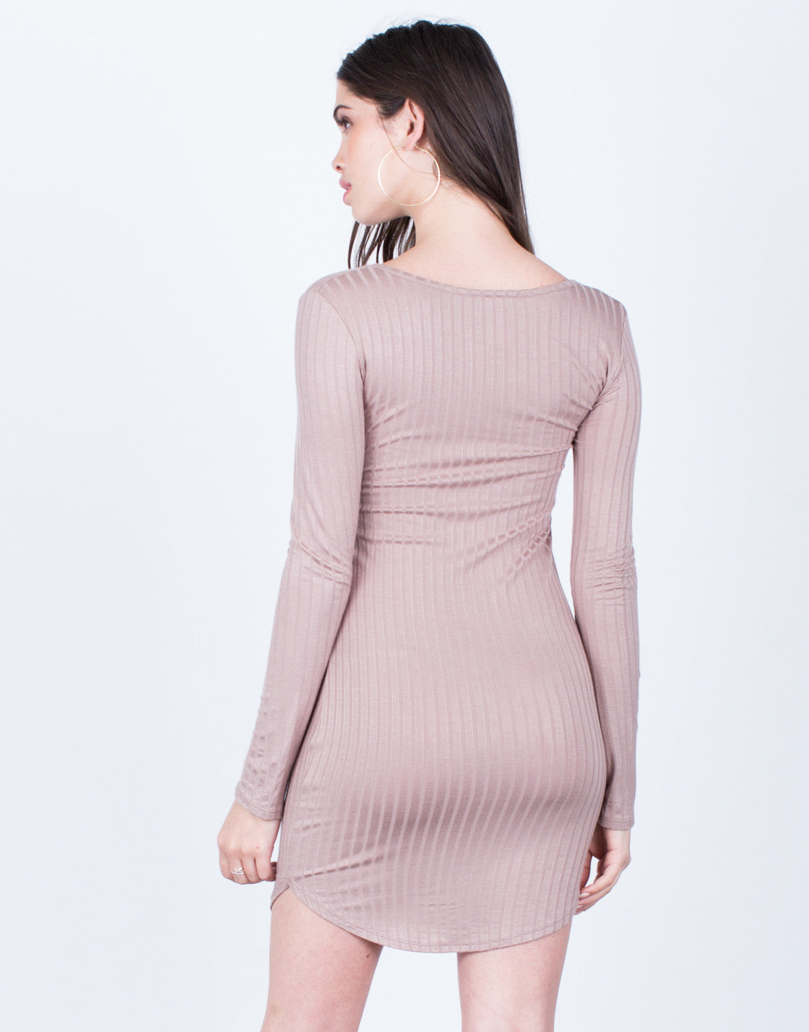 Back View of Criss Cross Ribbed Dress