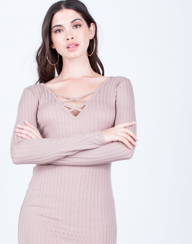 Detail of Criss Cross Ribbed Dress
