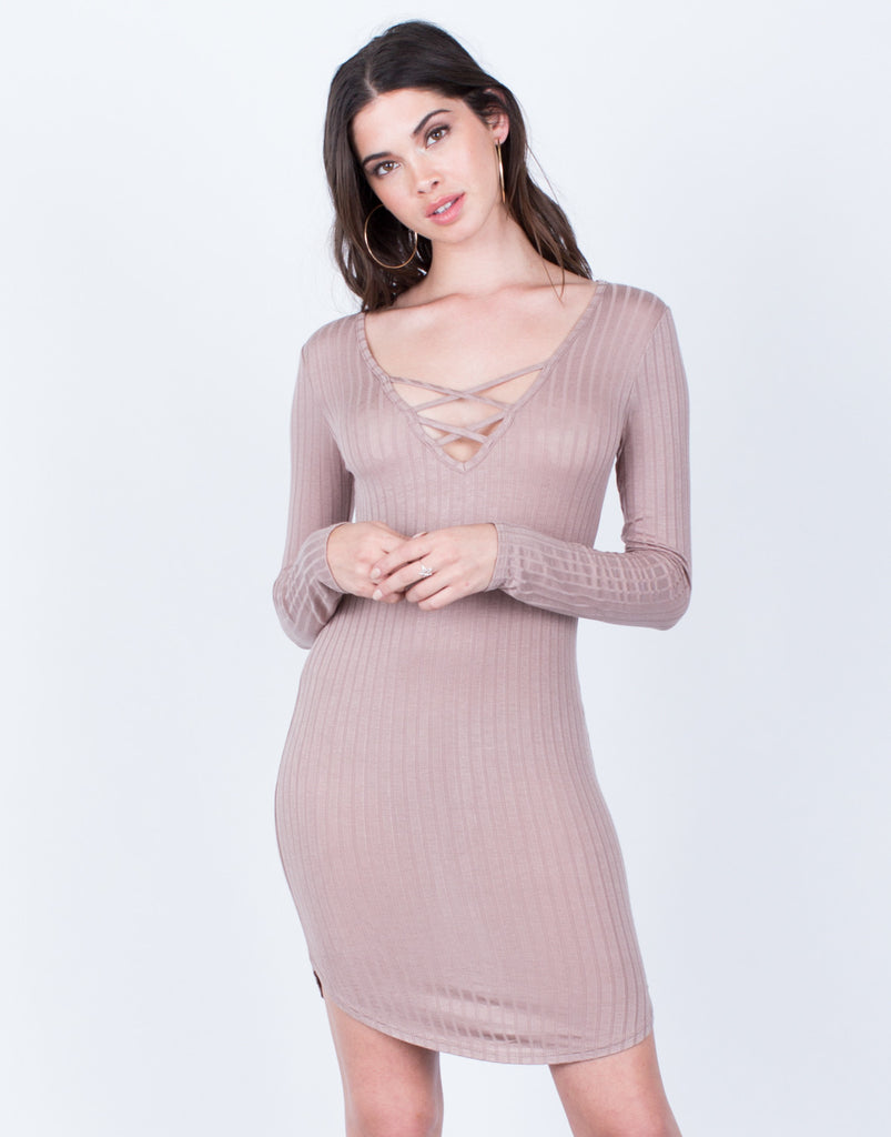 Front View of Criss Cross Ribbed Dress