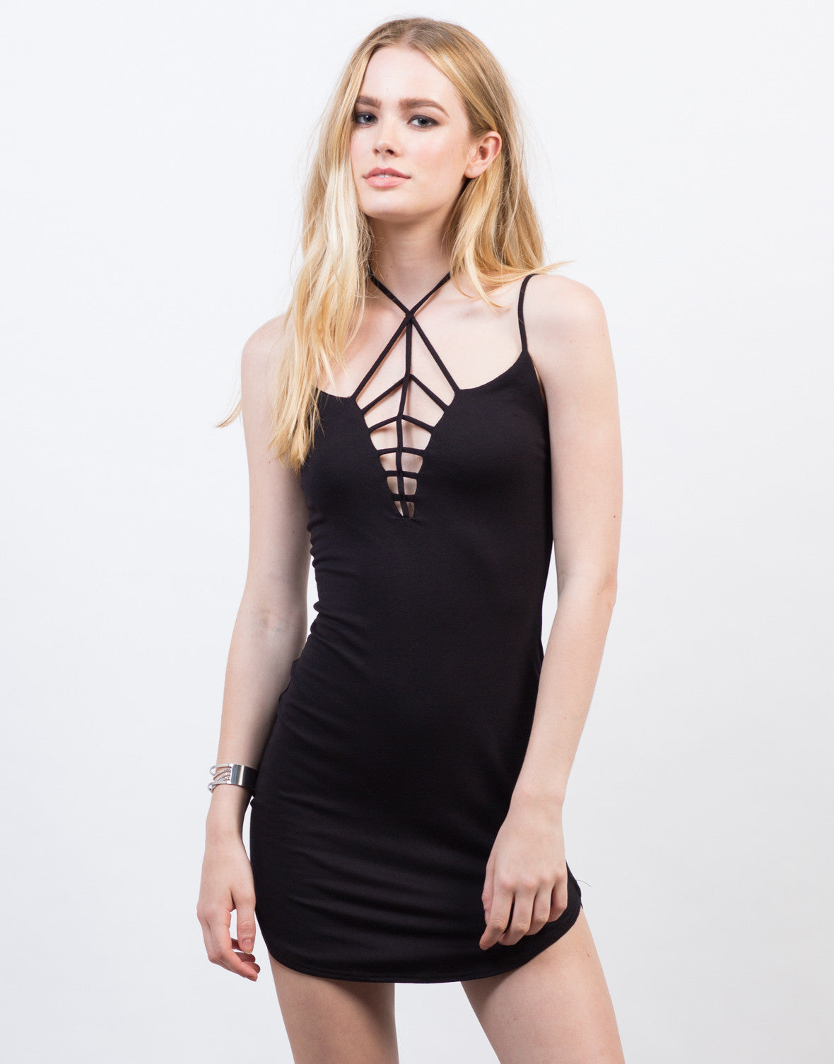 Front View of Criss Cross Strappy Dress