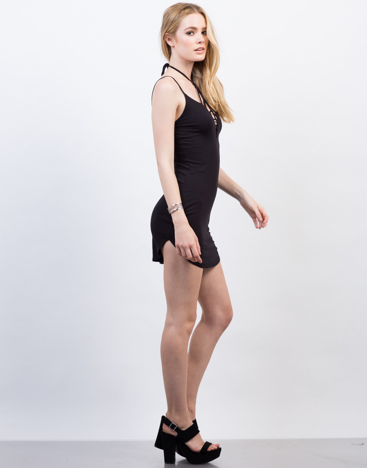 Side View of Criss Cross Strappy Dress