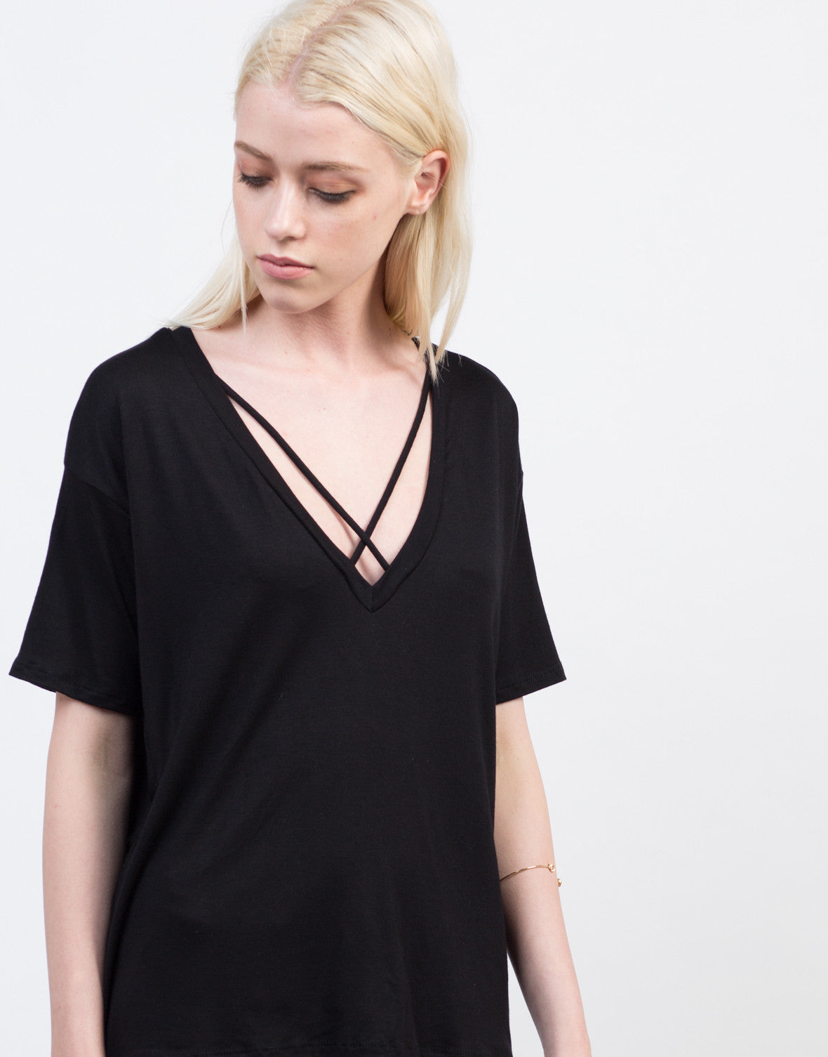 Detail of Criss Cross V-Neck Tee