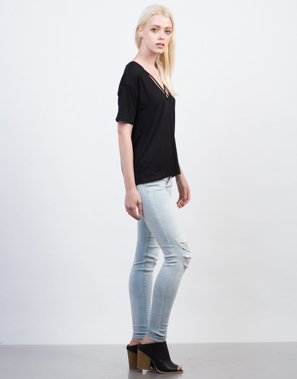 Side View of Criss Cross V-Neck Tee
