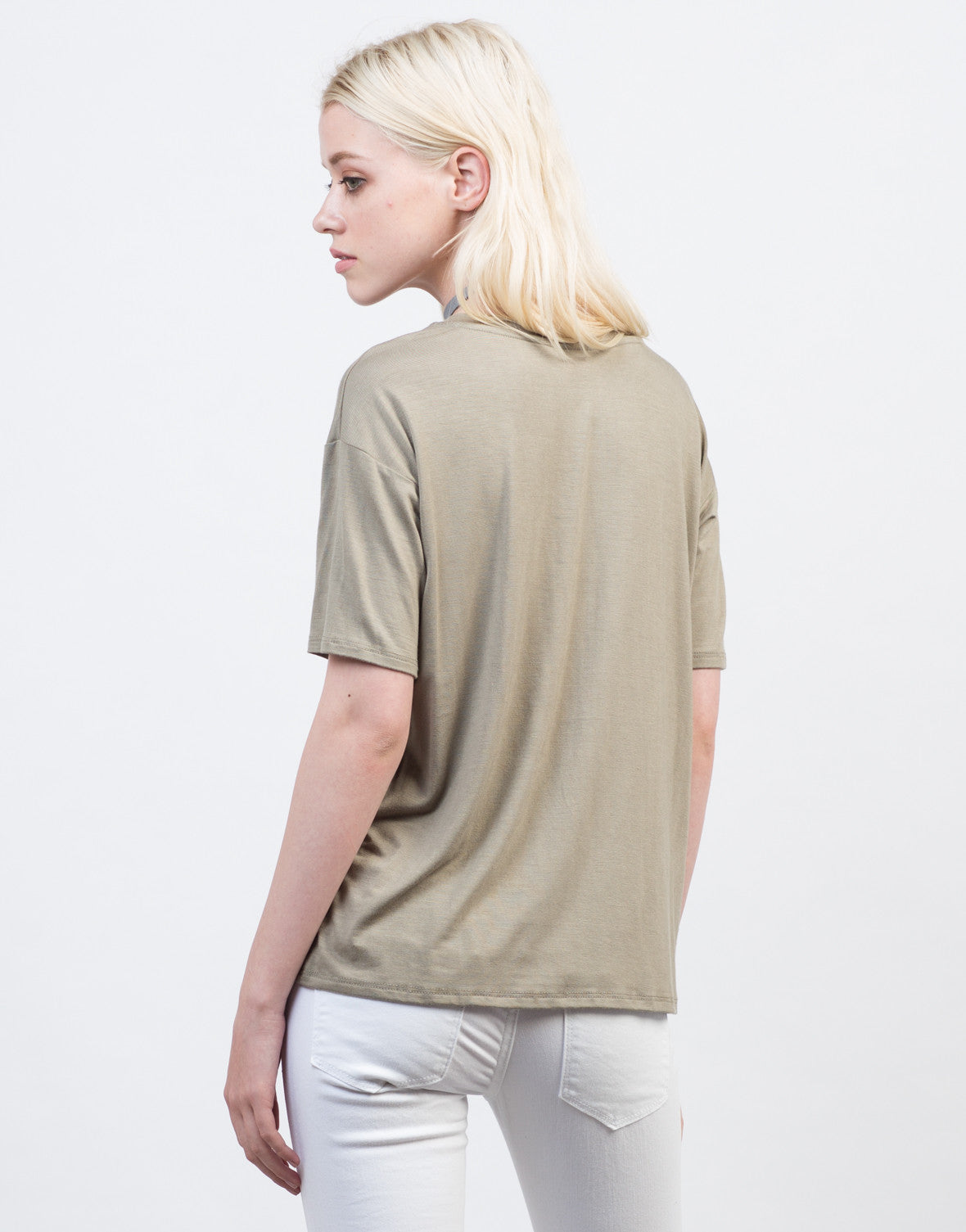 Back View of Criss Cross V-Neck Tee