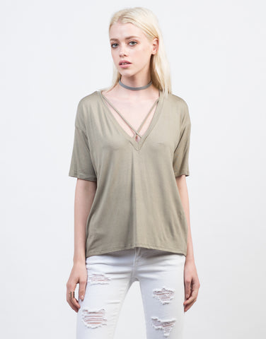 Front View of Criss Cross V-Neck Tee