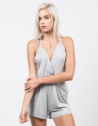 Front View of Criss Cross Back Romper