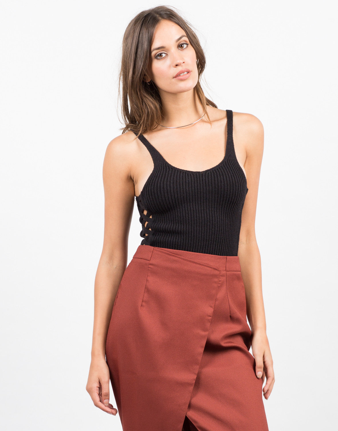 Front View of Criss Cross Crop Top