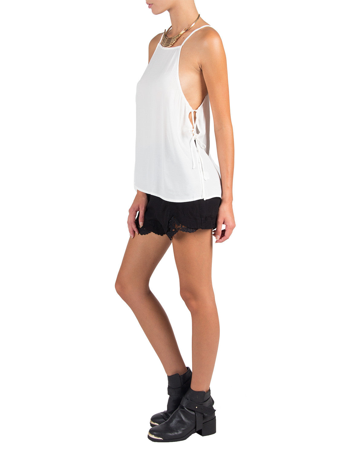 Criss Cross Side Tie Top - White - 2020AVE
