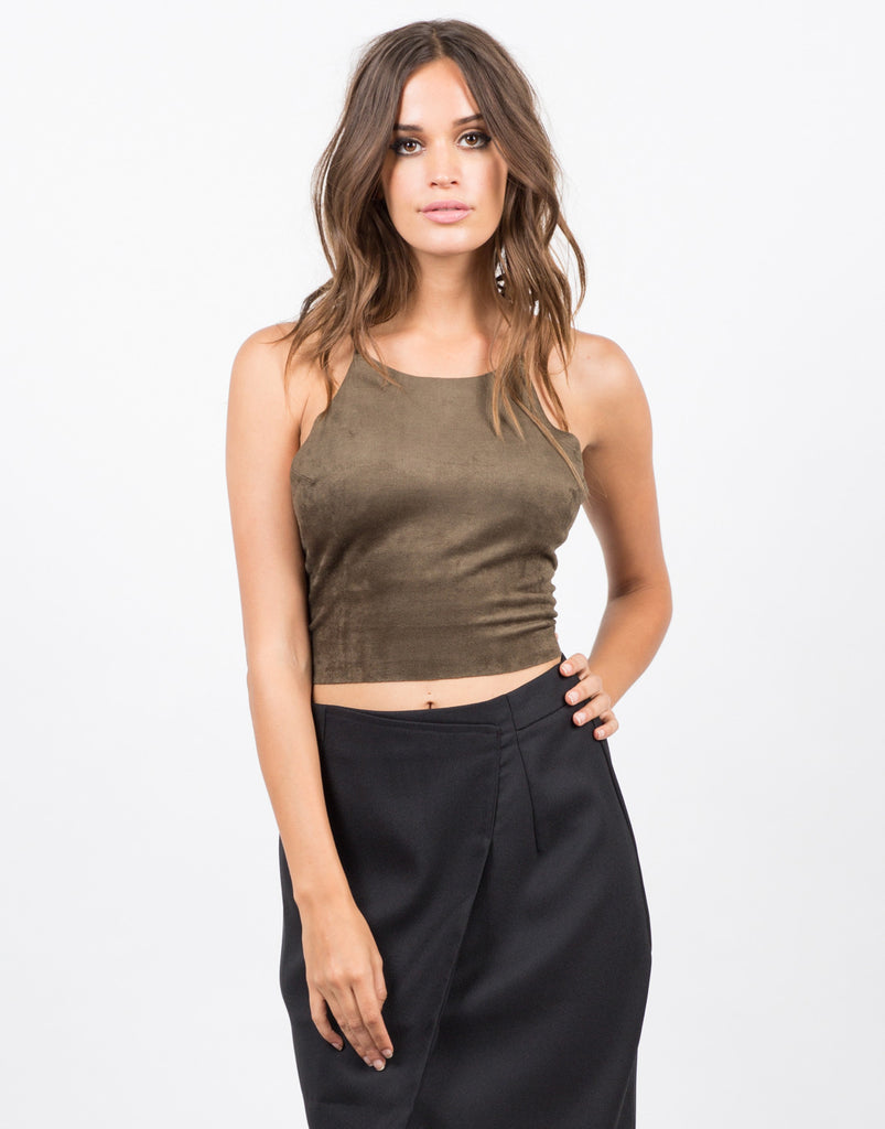 Criss Cross Suede Top - 2020AVE