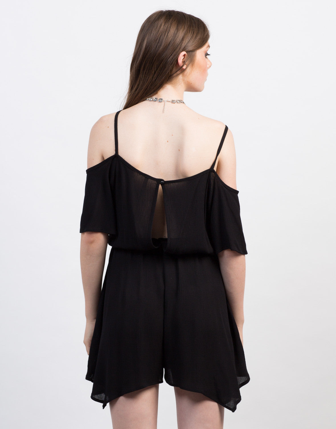 Back View of Crochet Cold Shoulder Romper