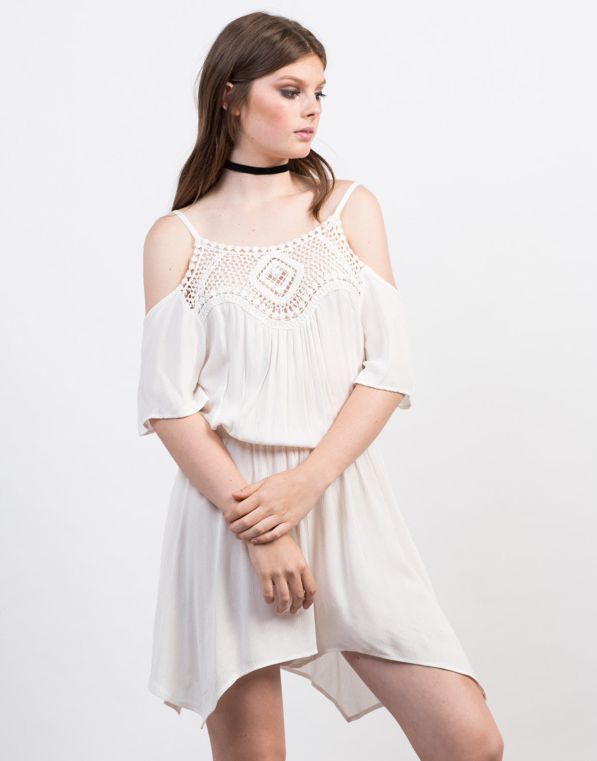 Front View of Crochet Cold Shoulder Romper