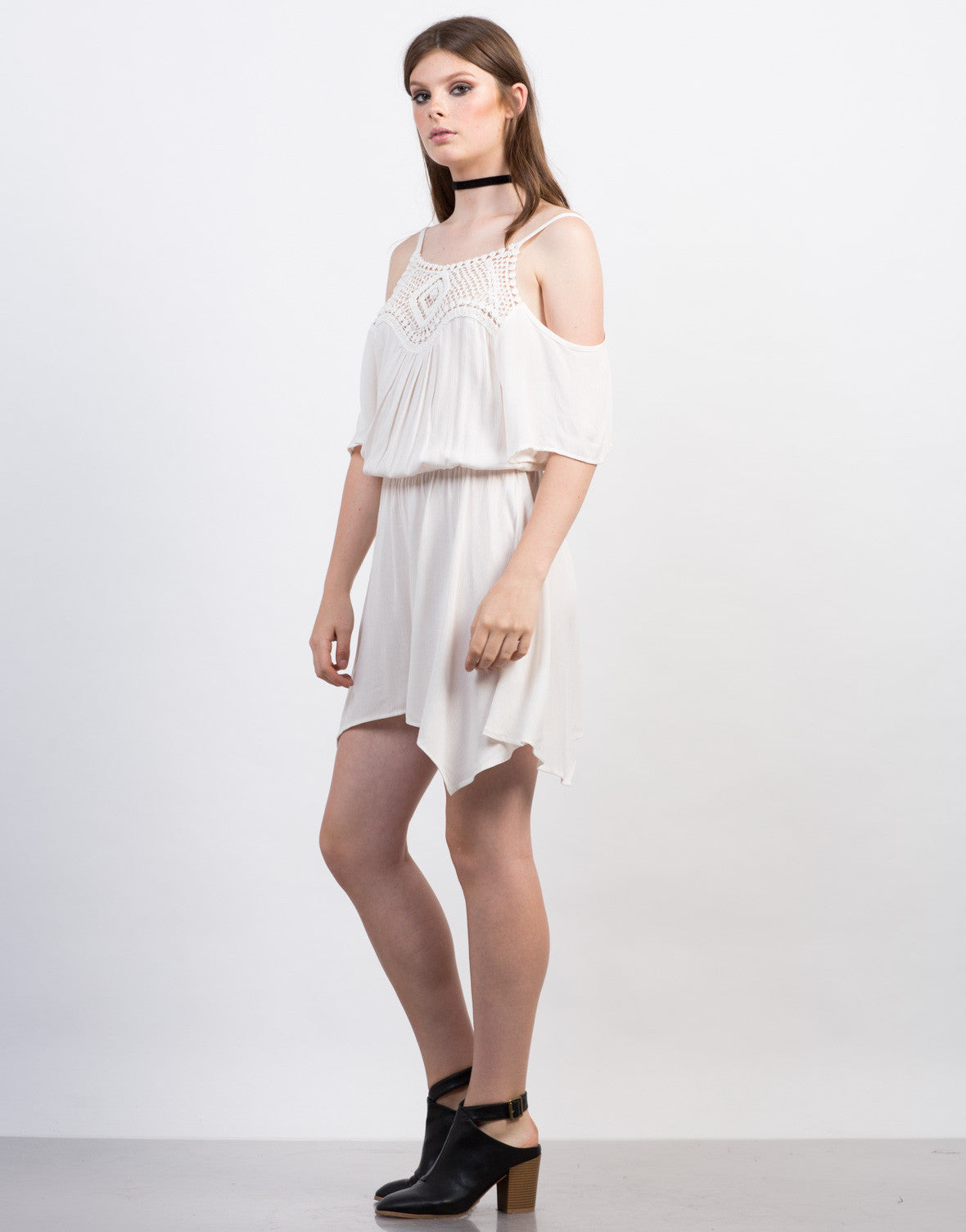 Side View of Crochet Cold Shoulder Romper
