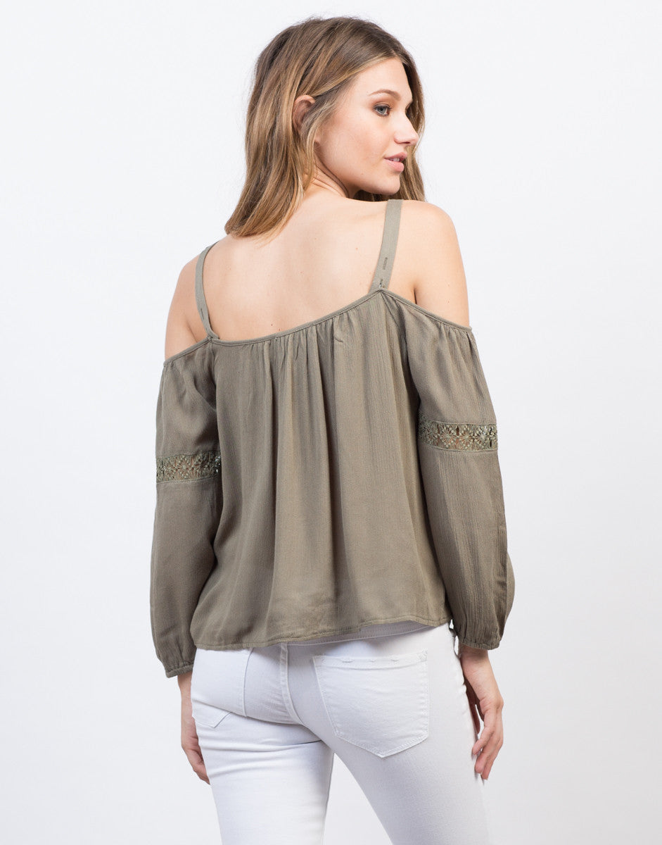 Back View of Crochet Cold Shoulder Top