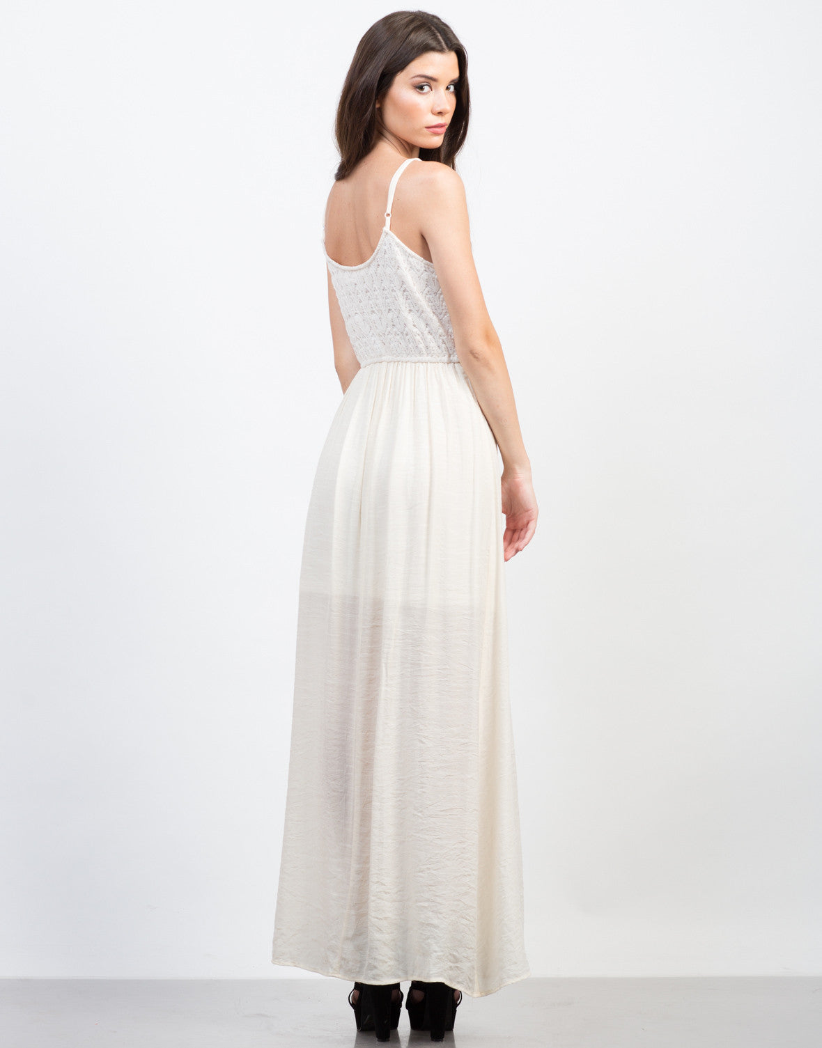 Back View of Crochet Contrast Maxi Dress
