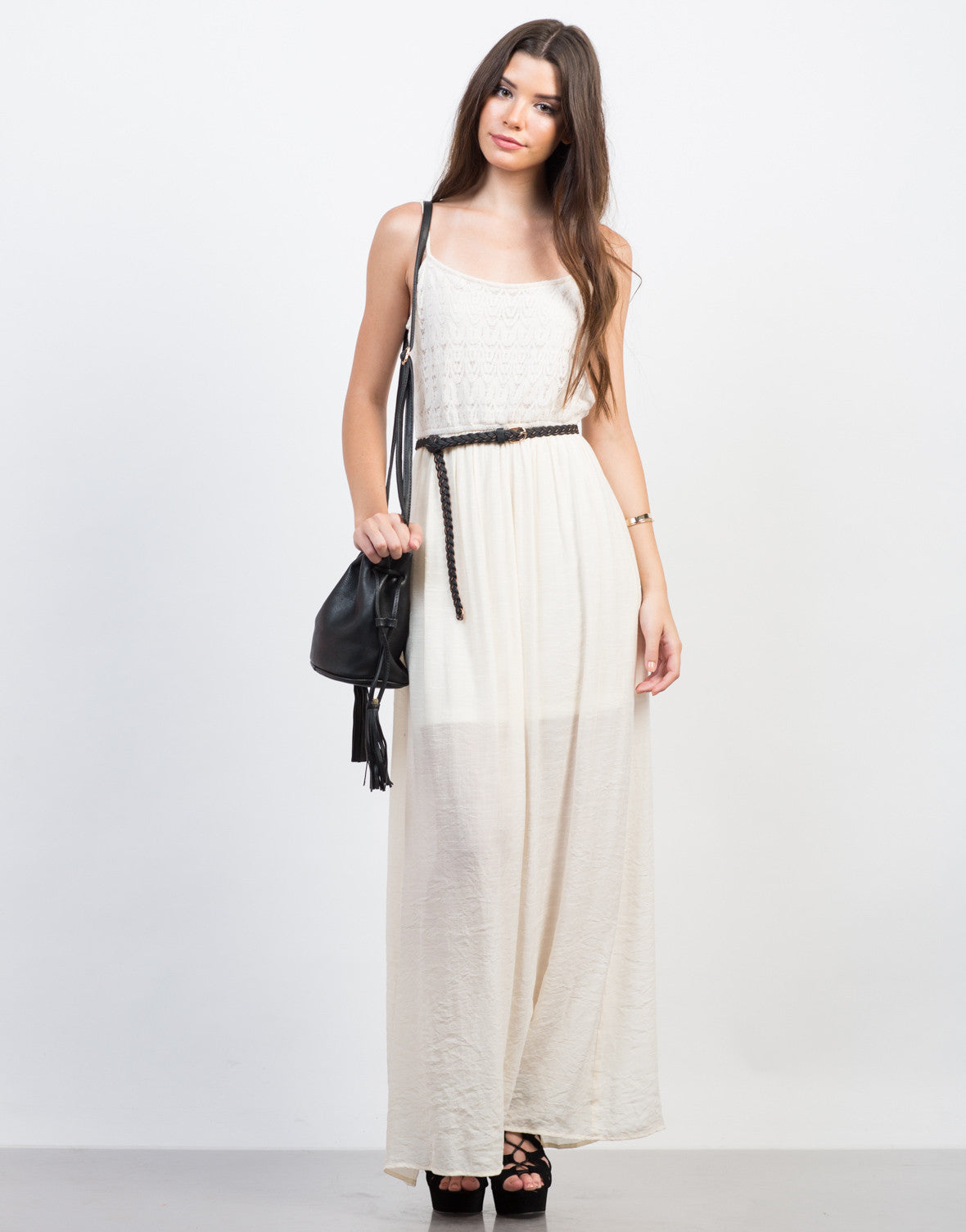 Front View of Crochet Contrast Maxi Dress