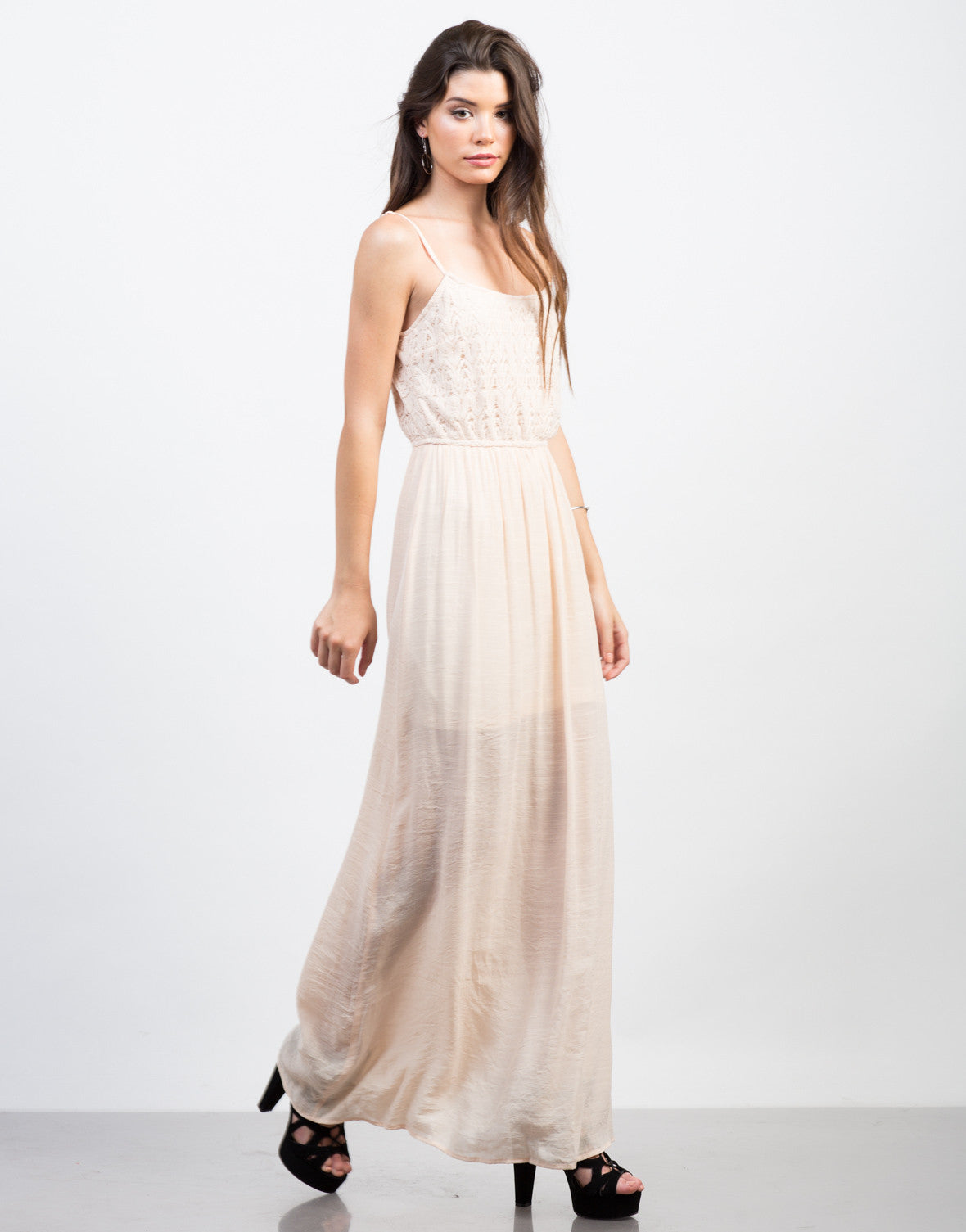 Side View of Crochet Contrast Maxi Dress