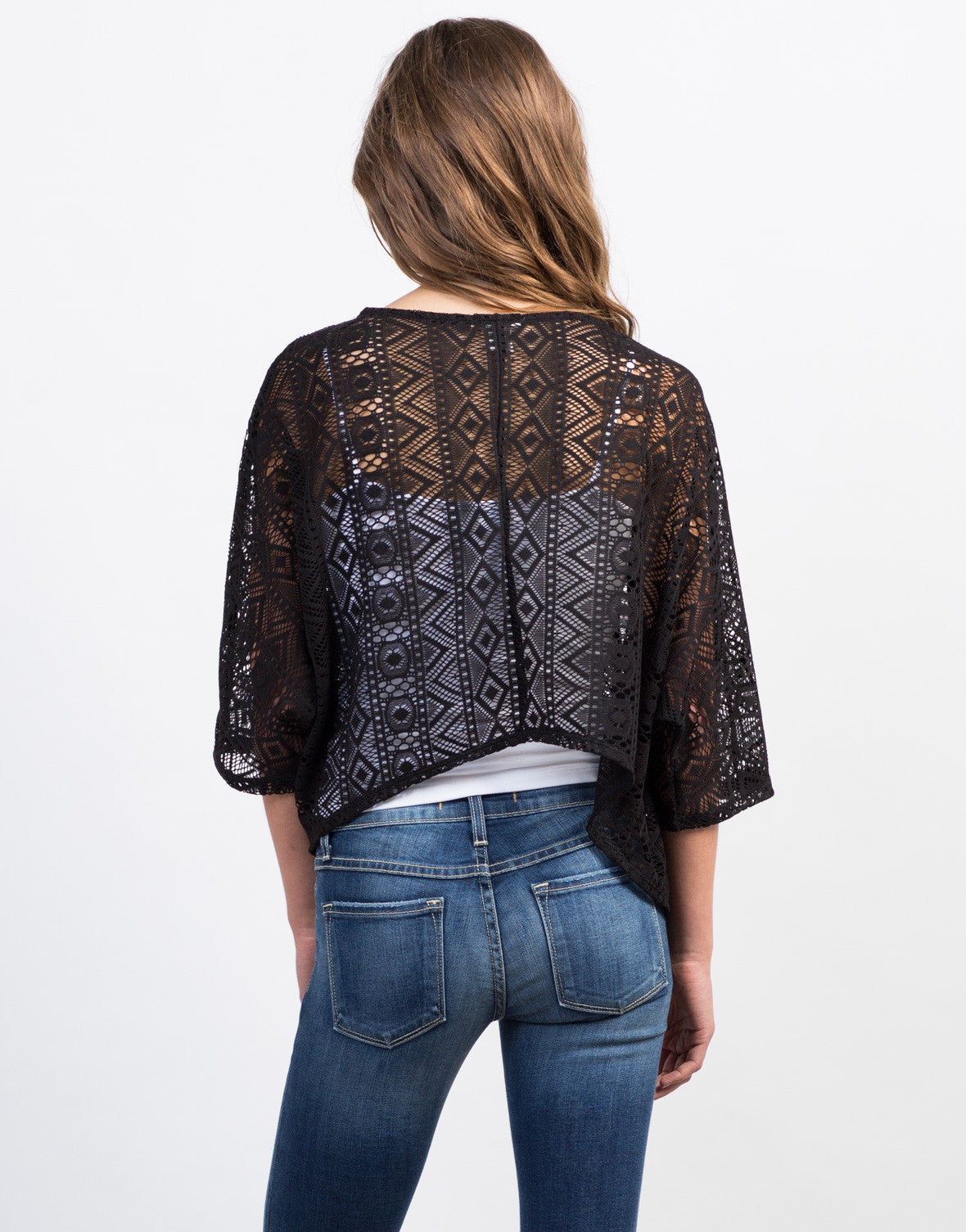 Back View of Crochet Cropped Cardigan