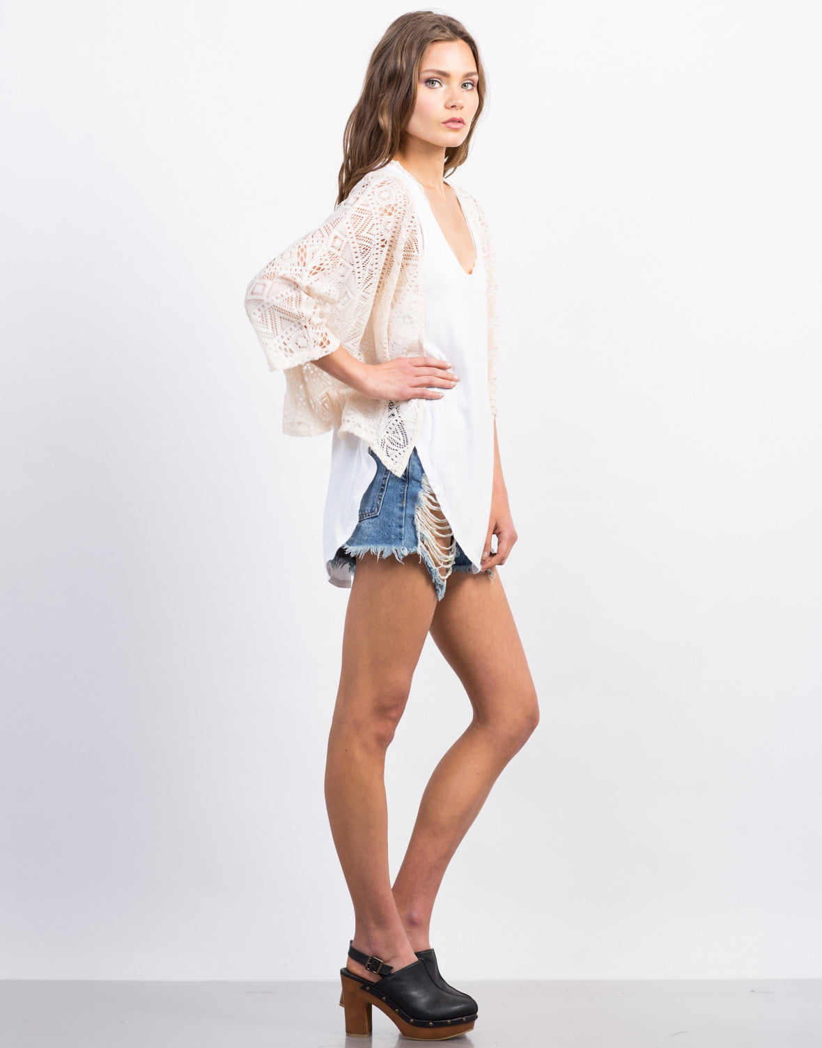 Side View of Crochet Cropped Cardigan
