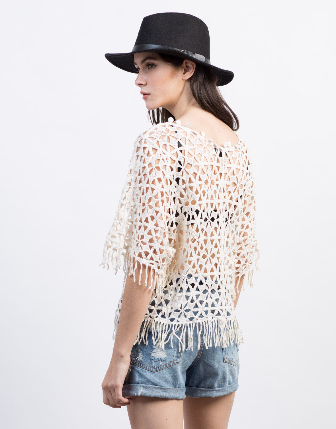 Back View of Crochet Fringe Top