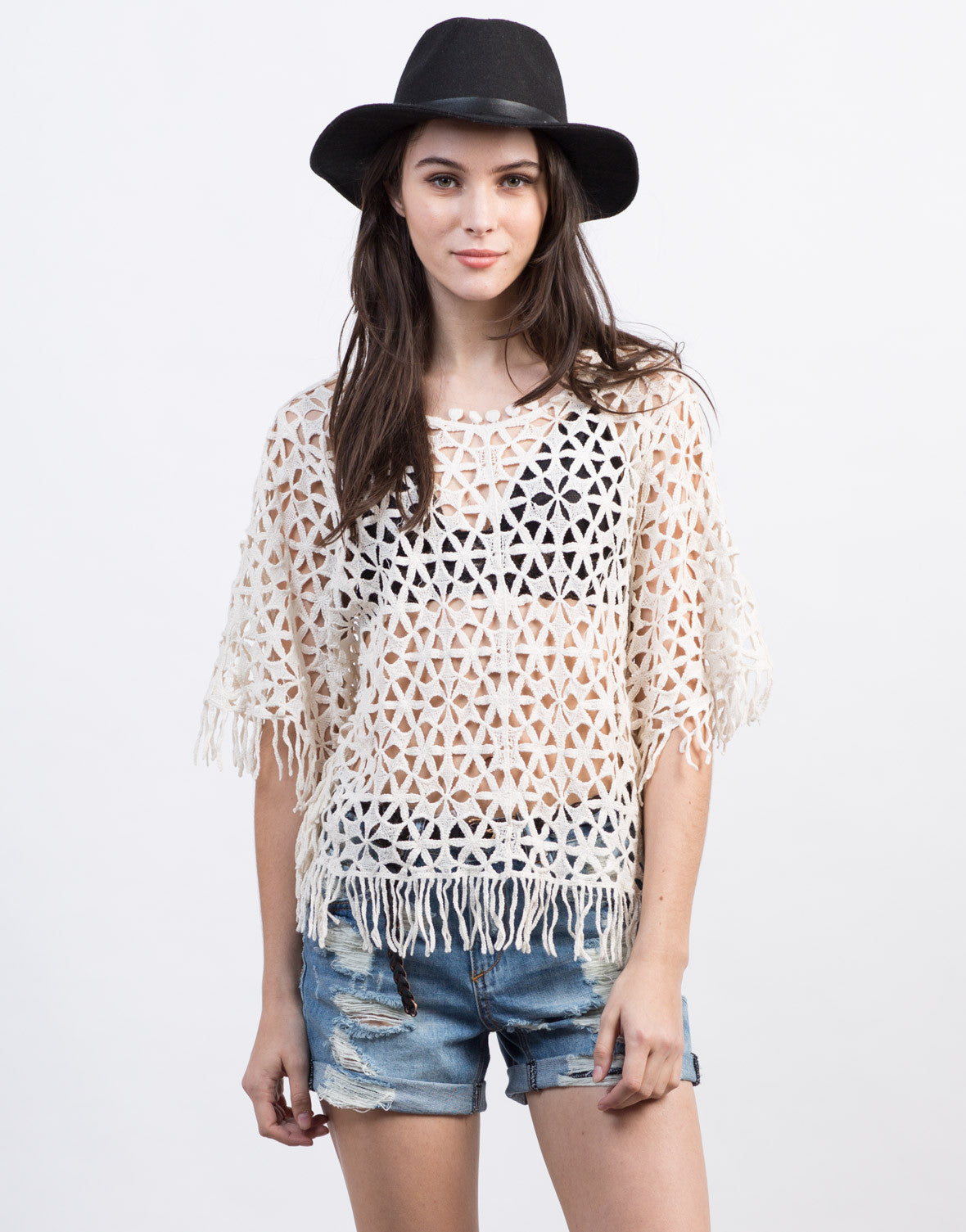 Front View of Crochet Fringe Top