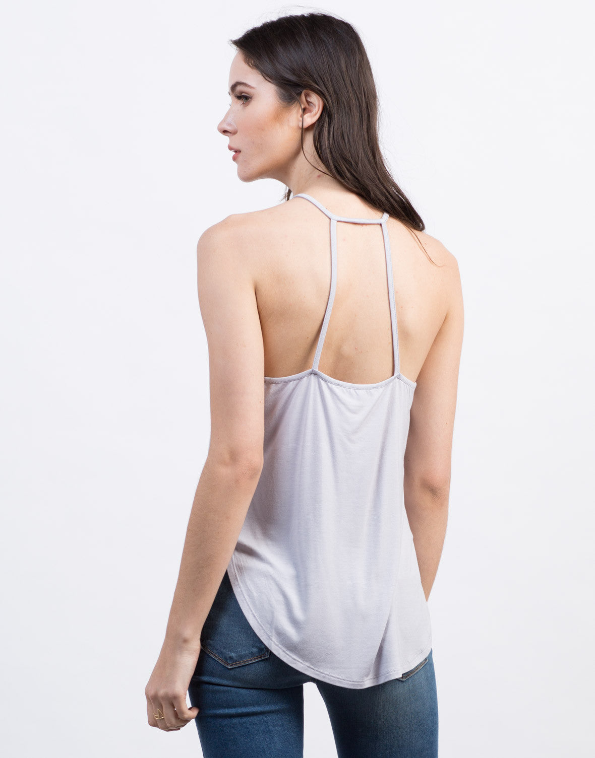 Back View of Crochet Front Strappy Top