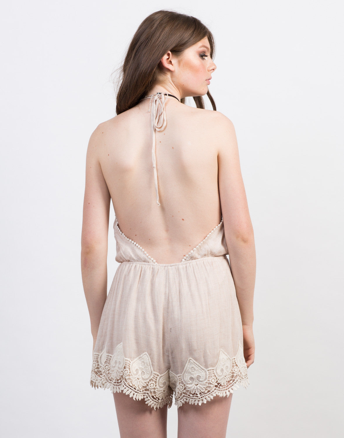 Back View of Crochet Halter Romper