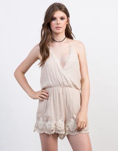 Front View of Crochet Halter Romper