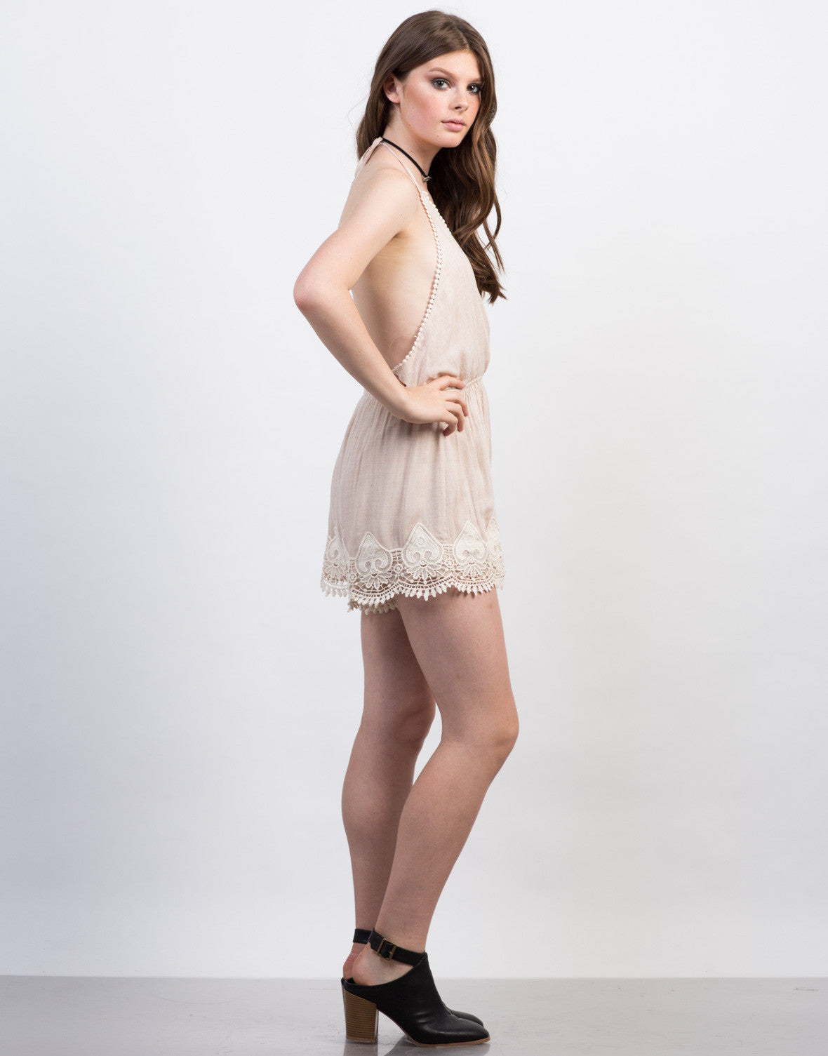 Side View of Crochet Halter Romper