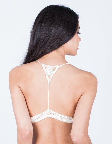 Back View of Crochet Knit Bralette Top