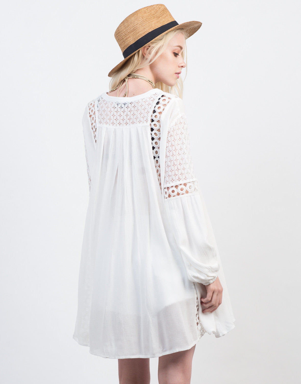 Back View of Crochet Lace Boho Dress