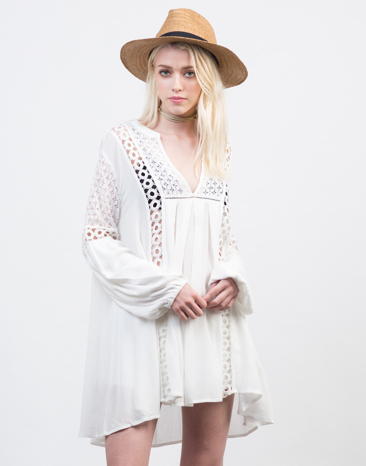 Front View of Crochet Lace Boho Dress