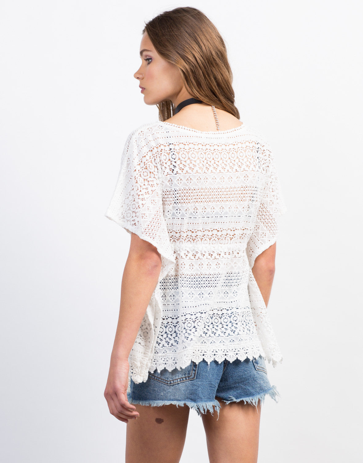Back View of Crochet Lace Flowy Top